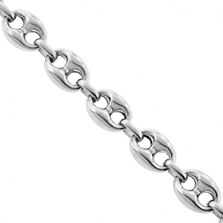 Italian 925 Silver Anchor Puffed Link Mens Necklace 9 mm