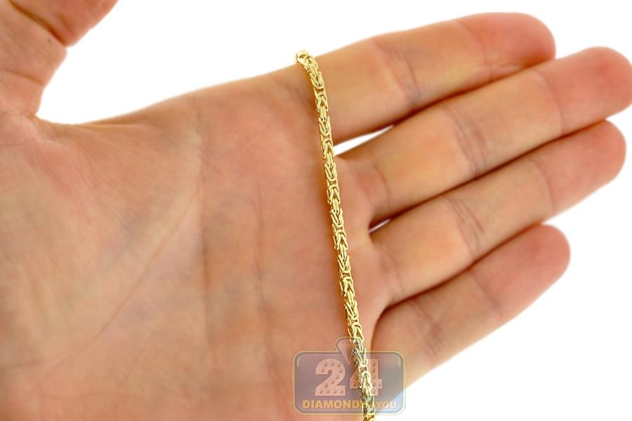 Italian 14k Yellow Gold Byzantine Mens Chain Necklace 2 5mm