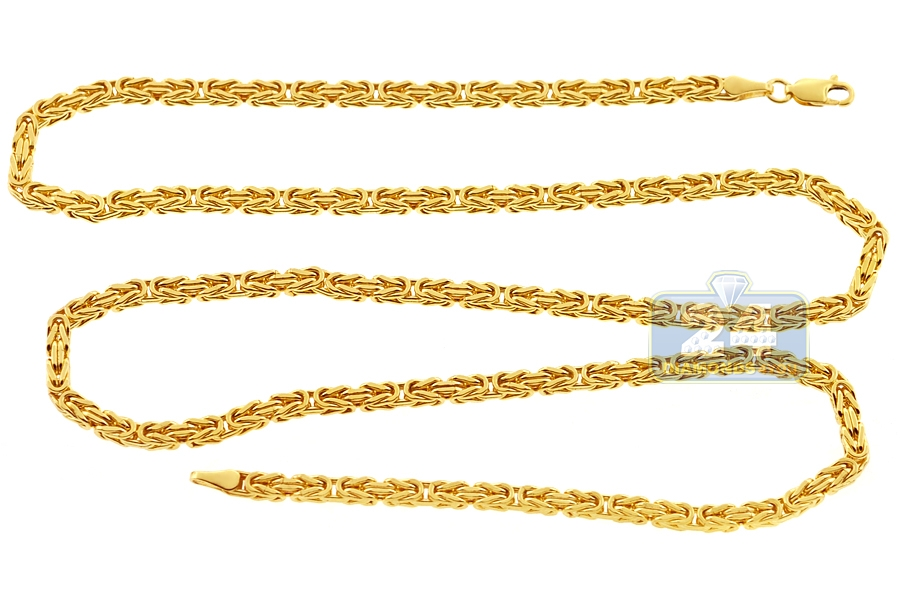 Italian 14k yellow gold byzantine mens chain 35 mm aloadofball Gallery