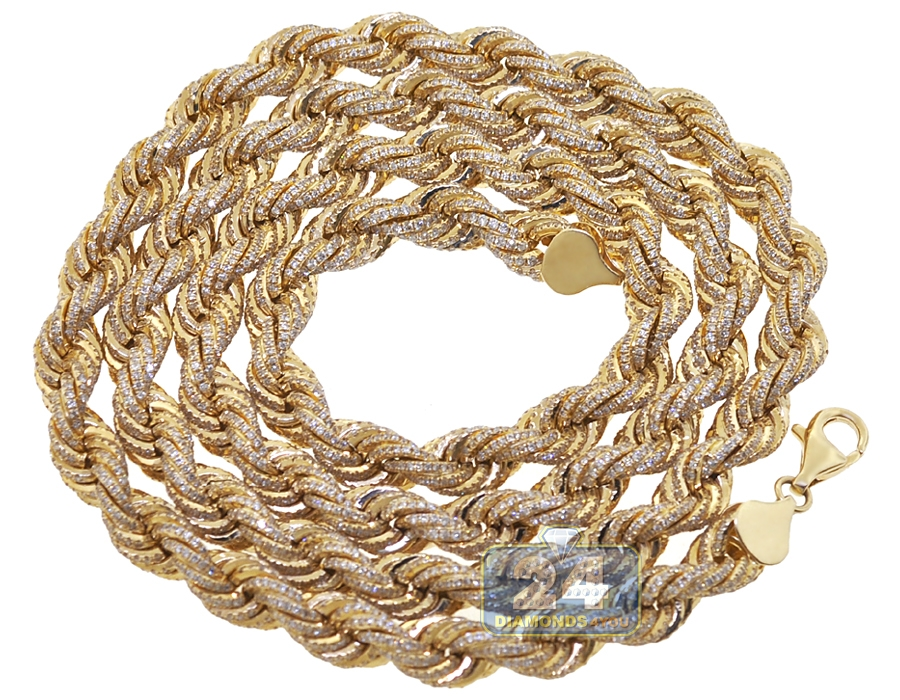 fbe330115eacf 14K Yellow Gold 26.50 ct Diamond Mens Rope Chain 8 mm 28 Inches