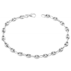 Sterling Silver Puff Mariner Anchor Womens Bracelet 5mm 7.5""