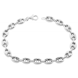 Sterling Silver Puffed Mariner Anchor Mens Bracelet 8mm 8.5""