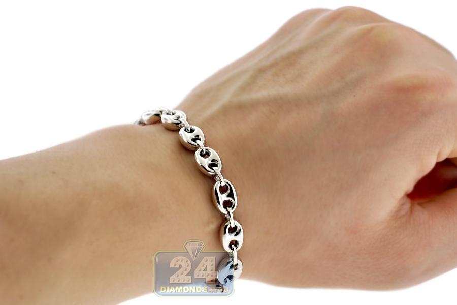 sterling silver puffed mariner anchor mens bracelet 8mm 8 5. Black Bedroom Furniture Sets. Home Design Ideas