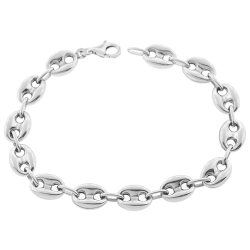 Sterling Silver Puff Mariner Anchor Mens Bracelet 9.5mm 9""