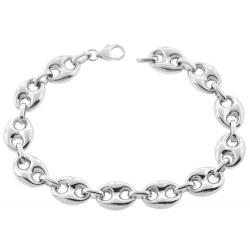 Sterling Silver Puff Mariner Anchor Mens Bracelet 11.5mm 9.25""