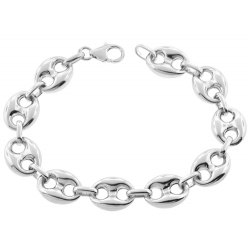 Sterling Silver Puffed Mariner Anchor Mens Bracelet 14mm 9.25""