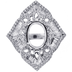 Womens Diamond Setting Semi Mount Ring for Oval 18K White Gold