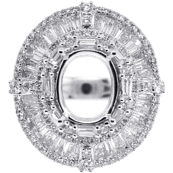 Diamond Semi Mount Setting Ring for Oval 18K White Gold 3.75ct