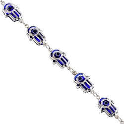 Sterling Silver Blue Hamsa Hand Womens Bracelet 8 mm 7 1/2 inches