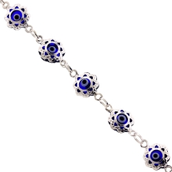 Sterling Silver Protective Dark Evil Eye Womens Bracelet 8mm 7.25""