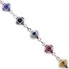 Sterling Silver Multicolored Evil Eye Womens Bracelet 8mm 7.75""