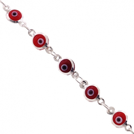 "Sterling Silver Protective Red Evil Eye Womens Bracelet 5mm 7.5"""