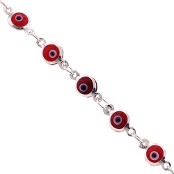 Sterling Silver Red Evil Eye Womens Bracelet 5 mm 7 1/2 inches