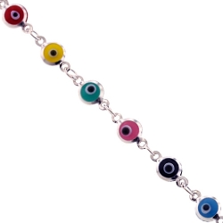 Sterling Silver Multicolored Evil Eye Womens Bracelet 5mm 7.5""