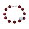 Sterling Silver Red Evil Eye Womens Luck Bracelet 10mm 7.5""