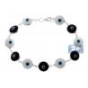 """925 Silver Black White Evil Eye Womens Luck Bracelet 10mm 7.5"""""""