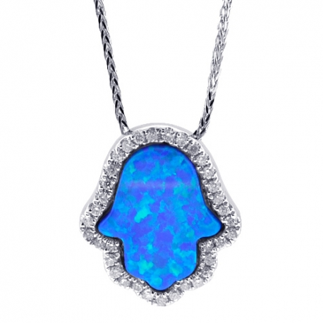14K Gold Diamond Blue Opal Hamsa Hand Womens Pendant Necklace