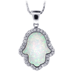 14K White Gold Diamond Opal Hamsa Hand Womens Necklace
