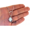 Womens Diamond Opal Hamsa Hand Pendant Necklace 14K White Gold