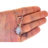 Womens Diamond Pink Opal Hamsa Hand Necklace 14K White Gold