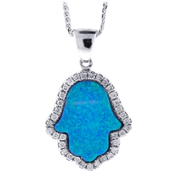 14K White Gold Diamond Blue Opal Hamsa Hand Womens Necklace