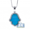 Womens Diamond Blue Opal Hamsa Hand Necklace 14K White Gold