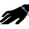 Womens Diamond Hamsa Hand Bracelet 14K White Gold Blue Opal