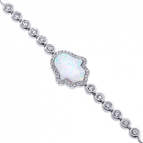Womens Diamond Opal Hamsa Adjustable Bracelet 14K White Gold