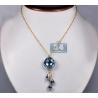 "Womens Aquamarine Diamond Drop Pendant Necklace 18K Gold 18"""