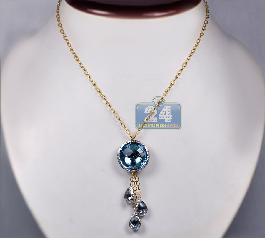 Womens aquamarine diamond drop pendant necklace 18k gold 18 aloadofball Image collections