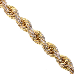 Mens Diamond Rope Chain Solid 14K Yellow Gold 26.50ct 8mm 28""