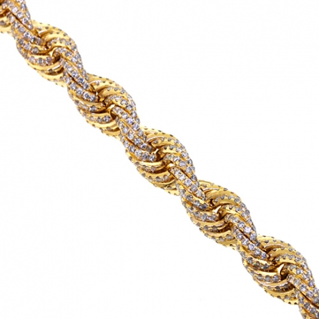 Mens Diamond Rope Chain Solid 14K Yellow Gold 72.80ct 11mm 30""