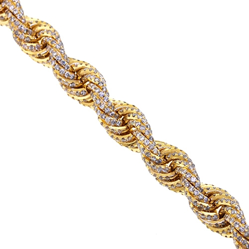 cff44d3f56590 14K Yellow Gold 72.80 ct Diamond Mens Rope Chain 11 mm 30 Inches