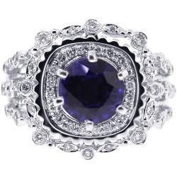 14K White Gold 2.97 ct Blue Sapphire Diamond Womens Ring
