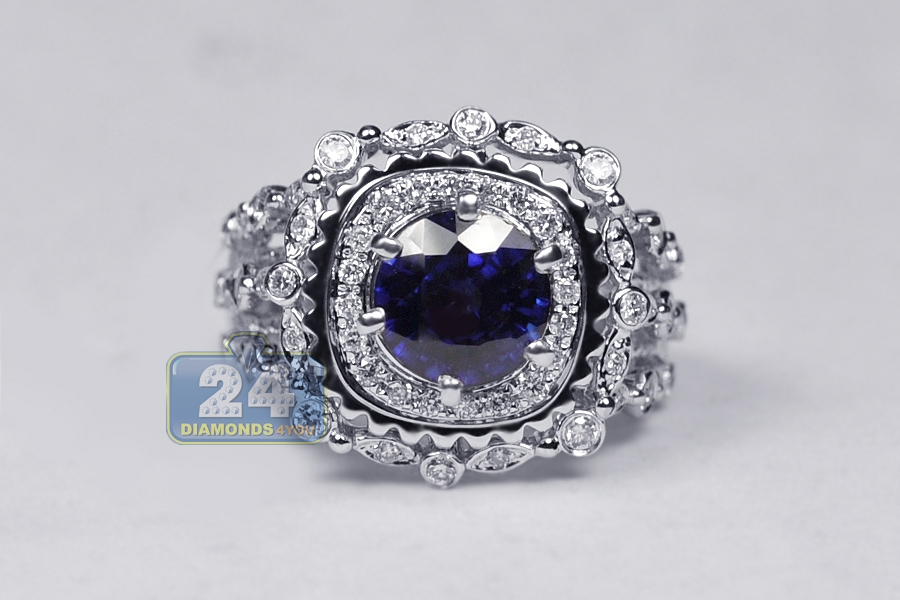 blue sapphire diamond womens antique ring 14k white gold 2. Black Bedroom Furniture Sets. Home Design Ideas