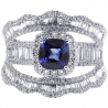 18K White Gold 2.86 ct Blue Sapphire Diamond Womens Ring