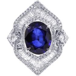 18K White Gold 5.77 ct Blue Sapphire Diamond Womens Ring