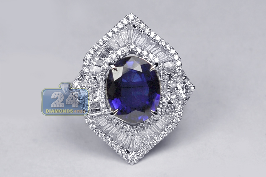 Oval Blue Sapphire Diamond Womens Ring 18k White Gold 5 77 Ct
