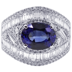 18K White Gold 6.05 ct Blue Sapphire Diamond Womens Ring