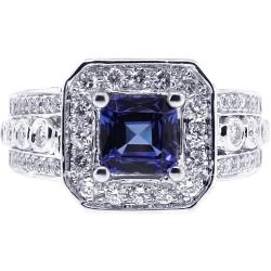 18K White Gold 2.56 ct Princess Sapphire Diamond Womens Ring