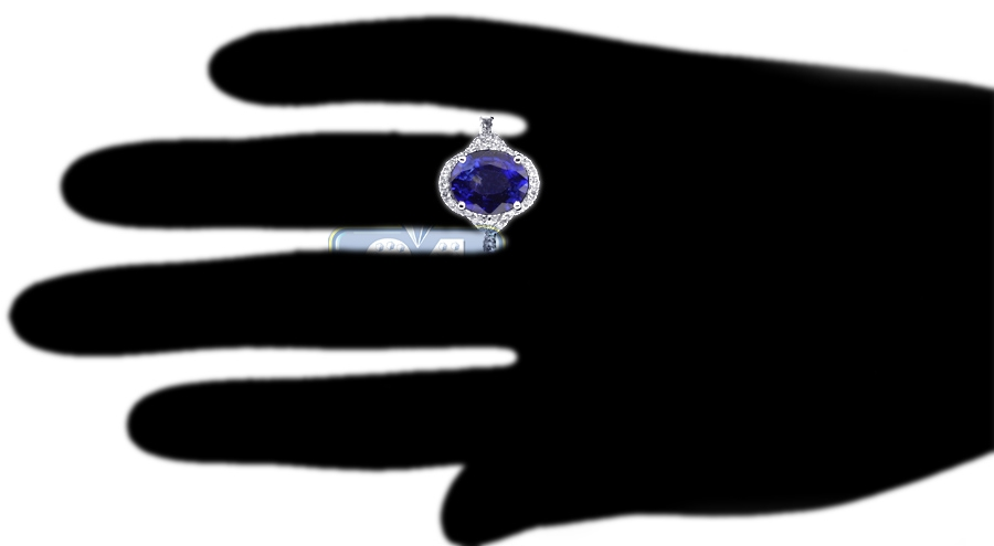 Oval Blue Sapphire Diamond Womens Ring 14K White Gold 625ct