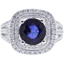 18K White Gold 5.01 ct Blue Sapphire Diamond Womens Ring
