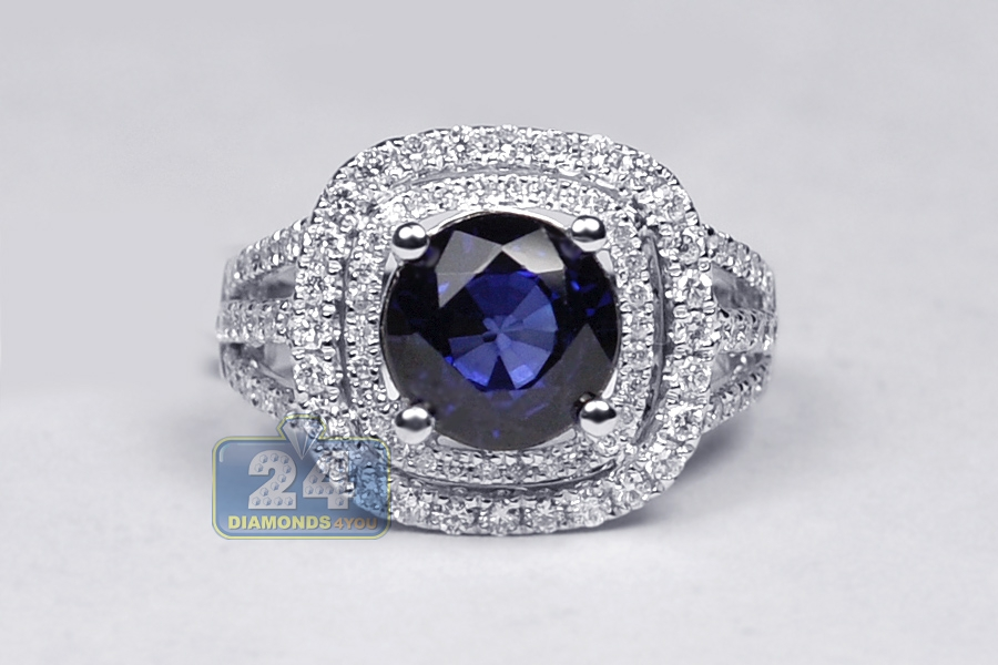 blue sapphire diamond vintage womens ring 18k white gold 5. Black Bedroom Furniture Sets. Home Design Ideas
