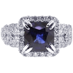 18K White Gold 4.96 ct Cushion Sapphire Diamond Womens Ring