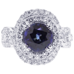 18K White Gold 4.75 ct Blue Sapphire Diamond Womens Ring