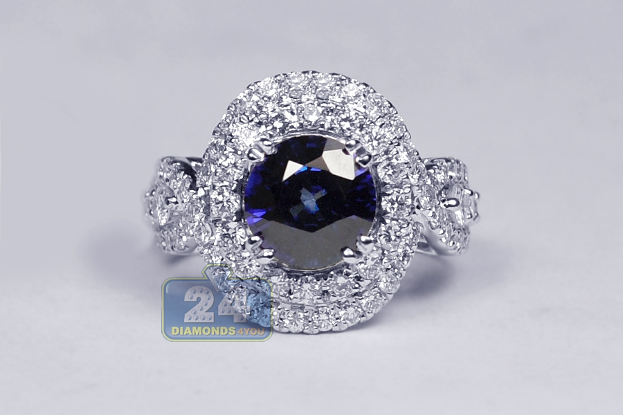 Womens Blue Sapphire Diamond Vintage Halo Ring 18k Gold 4 75ct