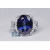 18K White Gold 24.52 ct Blue Sapphire Diamond Womens Ring