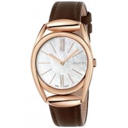Gucci Horsebit 34 mm Rose Gold Steel Womens Watch YA140507