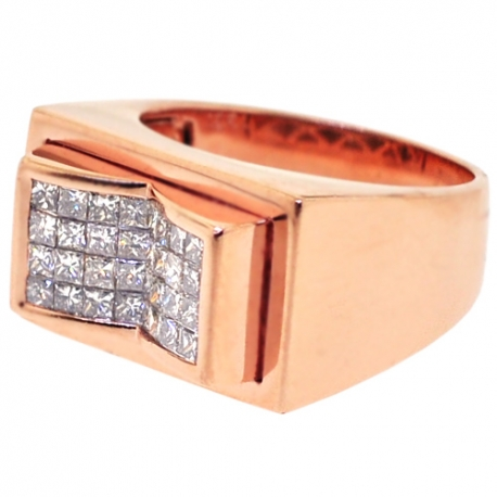 Mens Princess Diamond Pinky Ring 14K Rose Gold 1.25 ct