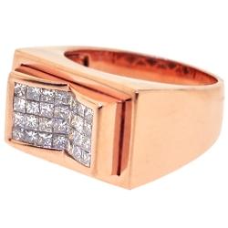 14K Rose Gold 1.25 ct Princess Diamond Mens Ring